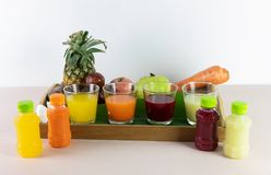 Fresh juice and mix is squeeze from real fruits for serve now Stock Photo