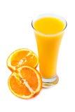Fresh juice and oranges Royalty Free Stock Photos