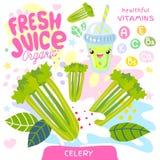 Fresh juice organic glass cute kawaii character. Celery vegetable green smoothies cup. Vector illustration. Fresh juice organic glass cute kawaii character stock illustration