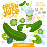 Fresh juice organic glass cute kawaii character. Cucumber vegetable green smoothies cup. Vector illustration. Fresh juice organic glass cute kawaii character vector illustration