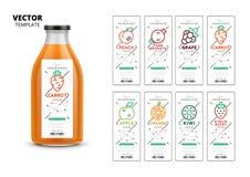 Fresh juice packaging mockup set. Realistic glass bottle with modern linear labels, food identity branding. Apple, kiwi, pomegranate, orange, grape, carrot vector illustration