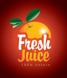 Fresh juice with picture orange Stock Images