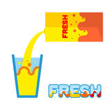 Fresh juice. Pour in a glass of fresh juice from  packaging. Vec Stock Photo