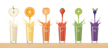 Fresh Juice Pouring From Colorful Fruits Stock Photo