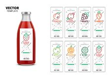 Fresh juice realistic glass bottle with labels. Set. Layout of food identity branding, packaging design for fresh fruit juice. Healthy organic product, natural Royalty Free Illustration