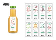 Fresh juice realistic glass bottle with labels set. Fresh juice realistic glass bottle with trendy linear style labels. Healthy organic product vector packaging Vector Illustration