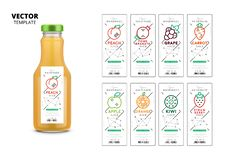 Fresh juice realistic glass bottle with labels set. Fresh juice realistic glass bottle with trendy linear style labels. Healthy organic product packaging mockup vector illustration