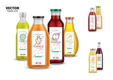 Fresh juice realistic glass bottle set with labels. Fresh juice realistic glass bottles with labels. Healthy organic product, natural vegan nutrition packaging royalty free illustration