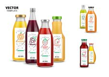 Fresh juice realistic glass bottles with labels Royalty Free Stock Images