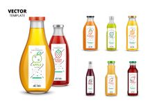 Fresh juice realistic glass bottles with labels Stock Photo