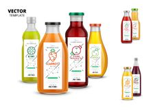 Fresh juice realistic glass bottle set with labels. Fresh juice realistic glass bottles with labels. Healthy organic product, natural vegan nutrition vector Stock Illustration