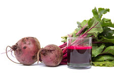 Fresh juice of red beets on white Stock Images