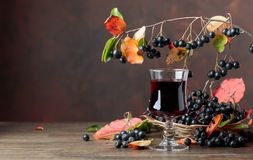 Fresh juice of ripe black chokeberry in glass and berries with l royalty free stock images