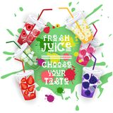 Fresh Juice Set Colorful Fruit Drinks Collection Choose Your Taste Cafe Poster Stock Photography