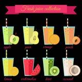 Fresh juice set. Fresh juice or smoothie set. For cafe, bar or restaurant menu decoration Stock Photography