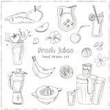Fresh Juice set. Vintage illustration for design Stock Images