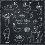 Fresh Juice set. Vintage illustration for design. Menus, recipes and packages product Stock Photography