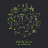 Fresh Juice set. Vintage illustration for design. Menus, recipes and packages product Stock Images