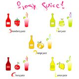 Fresh juice vector illustration - hand drawn fruits with bottles and glasses. On white background Royalty Free Stock Photo