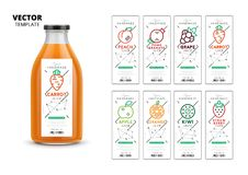 Fresh juice vector packaging mockup set. Realistic glass bottle with modern linear labels, food identity branding. Apple, kiwi, pomegranate, orange, grape Stock Image