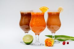 Fresh Juice on white Background - Panorama. Fruit juices in glasses on a white background stock photo