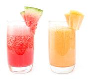 Fresh juices. Watermelon and melon juices in glasses for a nice weekend Stock Photography