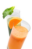 Fresh juices from carrot and parsley Stock Image