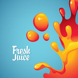 Fresh juices and drops and splashes Stock Photography