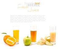 Fresh juices and fruits Royalty Free Stock Photos
