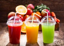 Fresh juices with fruits and vegetables Stock Photos
