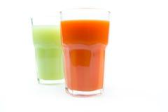 Fresh juices isolated on white Stock Photo