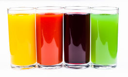 Fresh  juices isolated on white Royalty Free Stock Images