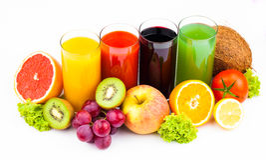 Fresh  juices isolated on white Stock Photography