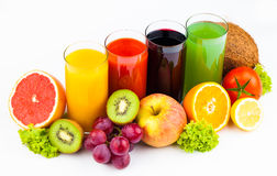 Fresh  juices isolated on white Stock Images