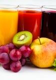 Fresh  juices isolated on white Royalty Free Stock Photos