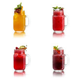 Fresh juices in jar Stock Photo