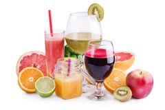 Fresh juices and smoothies with fruits and vegetables in glasses Royalty Free Stock Photography