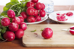 Fresh, juicy, appetizing radish lying on a wooden table in front of treatment. In lettuce Royalty Free Stock Photo