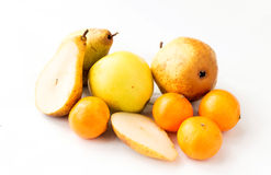 Fresh, juicy apples, tangerines and pears Stock Image