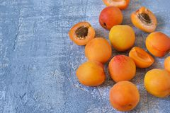 Fresh, juicy apricots on a concrete gray background. Bio food Royalty Free Stock Image