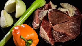 Fresh, juicy beef with vegetables royalty free stock image