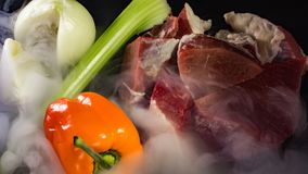 Fresh, juicy beef with vegetables stock photos
