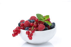Fresh juicy berries in a bowl, isolated Royalty Free Stock Image