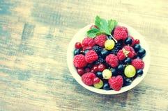 Fresh juicy berries, raspberries, currants, blackberries, a gooseberry in an white plate Royalty Free Stock Photos