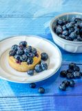 Fresh berries and cake on blue. Fresh juicy blueberries and a rich butter cake are garnished with more fresh berries Royalty Free Stock Images