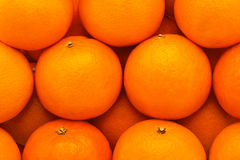 Fresh, juicy, bright tangerines with embossed skin, photographed close-up Stock Photos
