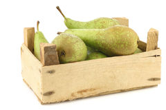 Fresh juicy conference pears in a wooden box Stock Images