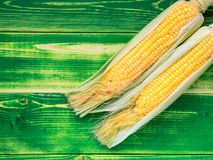 Fresh juicy corn on the cob on a bright green wooden background. Fresh juicy corn on the cob on a bright green wooden background, place for text, top view Royalty Free Stock Photos
