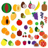 Fresh juicy exotic sweet fruits elements collection Stock Photo