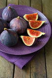 Fresh and juicy figs on a platter Royalty Free Stock Image